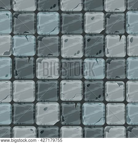 Stone Cartoon Pavement Seamless Pattern, Rock Cracked Tiles Floor Texture, Gray Brick Wall Backgroun