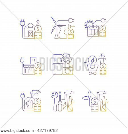 Electrical Energy Gradient Linear Vector Icons Set. Appliance Recycling Program. Electricity Consump