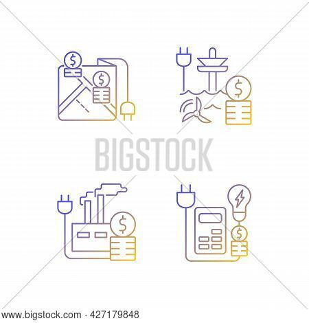 Electrical Energy Purchase Expense Linear Icons Set. Pricing By Locality. Electricity Consumption. T