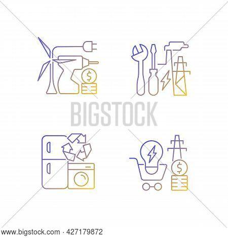 Alternative Energy Gradient Linear Vector Icons Set. Equipment Installation. Electricity Consumption