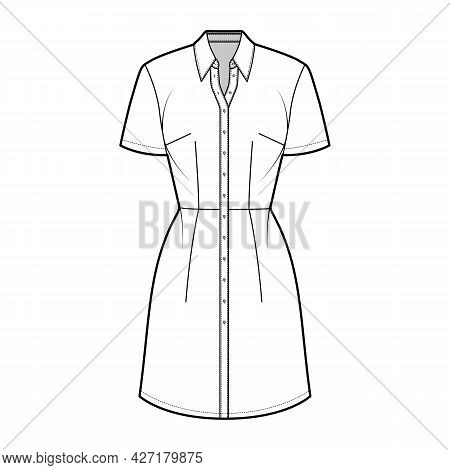 Dress Shirt Technical Fashion Illustration With Short Sleeves, Fitted Body, Knee Length Pencil Skirt