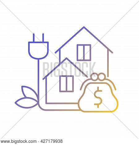 Green Pricing Program Gradient Linear Vector Icon. Utility Service Cost For Residential Buildings. P