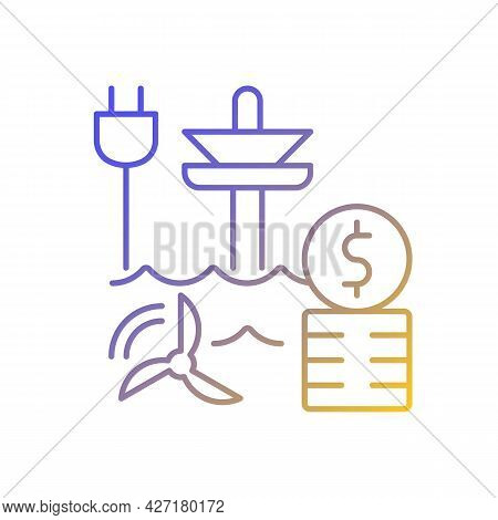 Tidal Energy Price Gradient Linear Vector Icon. Hydropower Resource Supply Production Cost. Energy P