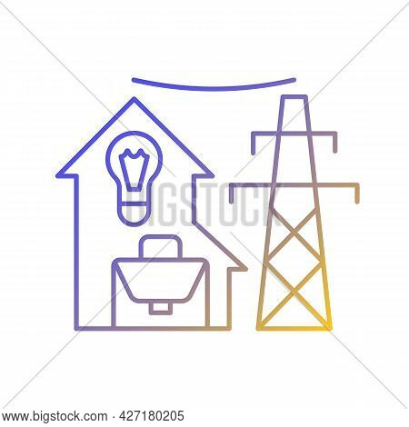 Electric Utility Gradient Linear Vector Icon. Electricity Power Industry Production. Energy Purchase