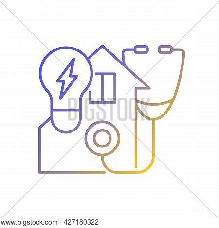 Energy Audit Gradient Linear Vector Icon. Inspecting Residential House For Efficient Power Usage. En