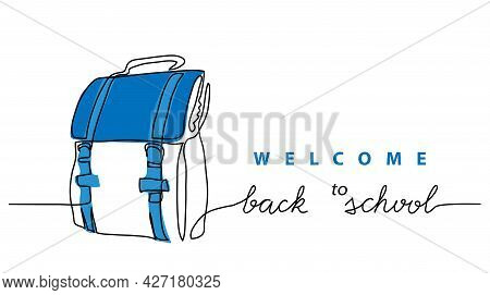 Back To School Simple Vector Schoolbag Banner, Poster, Background. One Continuous Line Drawing With