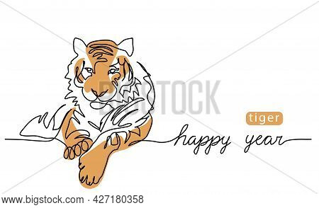 Happy Tiger Year. One Continuous Line Art Drawing Of The Tiger. Vector Color Illustration, Greeting