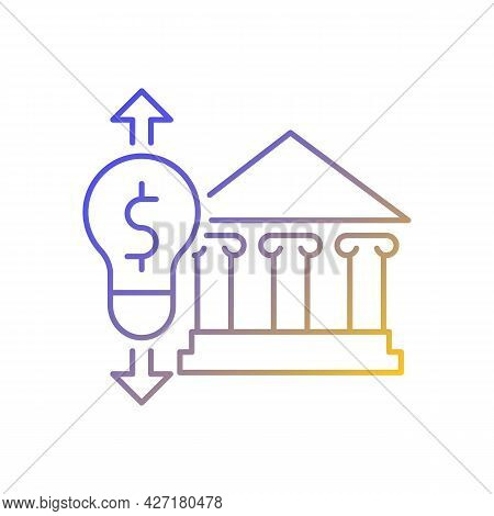 Government Energy Price Regulation Gradient Linear Vector Icon. Community Utility Supply Cost. Energ