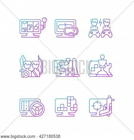 Online Gameplay Gradient Linear Vector Icons Set. Exciting Time Spending With Friends. Fighting Simu