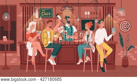 Friends Hanging Out In Bar Or Pub Drinking Alcoholic Drinks And Talking. Men And Women Sitting By Co