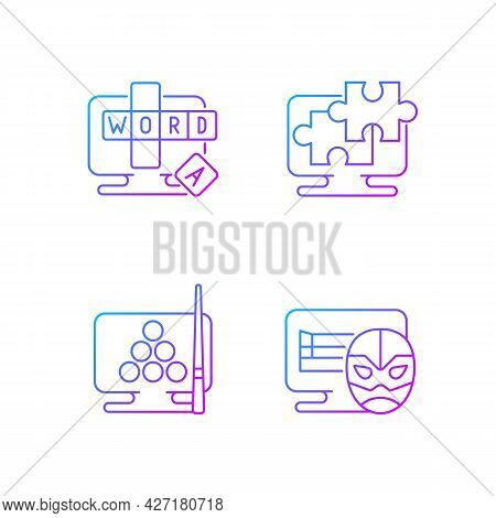 Intellectual Game Types Gradient Linear Vector Icons Set. Online Word Guessing Game. Thin Line Conto