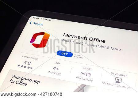 Ostersund, Sweden - Mars 19, 2021: Microsoft Office app. Microsoft Office is an office suite created by Microsoft.