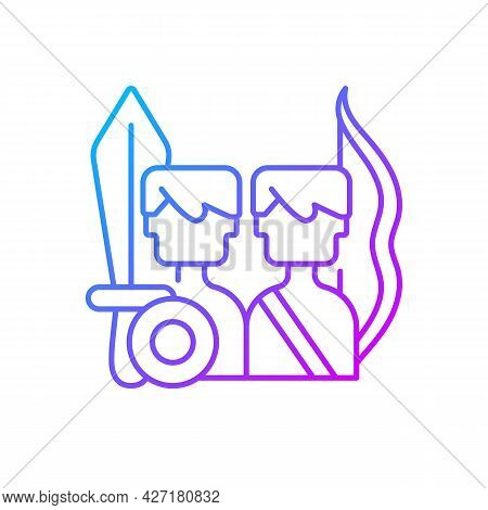 Multiplayer Online Battle Arena Game Gradient Linear Vector Icon. Strategy Genre With Units. Fightin