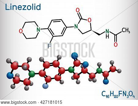 Linezolid Molecule. It Is Synthetic Antibiotic Used For Treatment Of Infections Including Streptococ