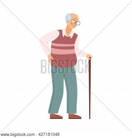 Tired Old Man, Elderly Unhealthy Male Character With Walking Stick.