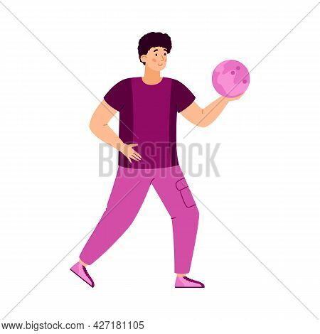 Man Bowling Player Ready To Throw A Ball, Flat Vector Illustration Isolated.