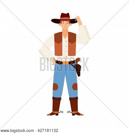 American Western Cowboy Or Texas Ranger, Flat Vector Illustration Isolated.