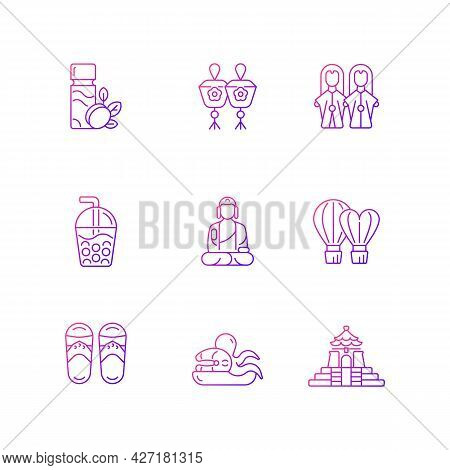Traditional Taiwanese Gradient Linear Icons Set. Buddha Great Journey. Taiwan Style. Asian Trip Attr