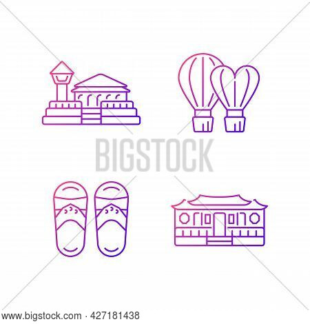 National Taiwanese Gradient Linear Vector Icons Set. Longshan Temple. Traditional Asian Items. Ethni