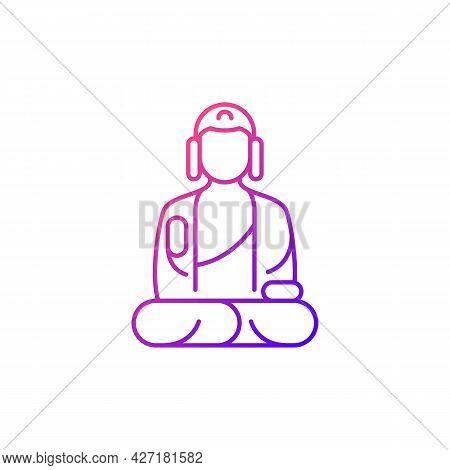 Shan Buddha Museum Gradient Linear Vector Icon. Buddhist Faith Architecture. Bliss Statue. Meditatio