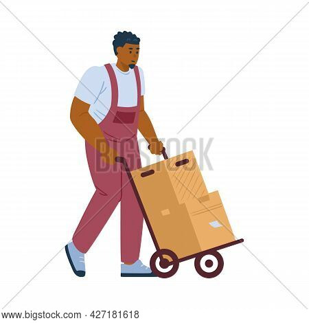 Moving Company Loader With Boxes On Cart, Flat Vector Illustration Isolated.