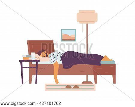 Man Sleeping Sweet Dream In Bed, Flat Vector Illustration Isolated On White.