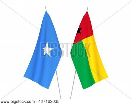 National Fabric Flags Of Somalia And Republic Of Guinea Bissau Isolated On White Background. 3d Rend