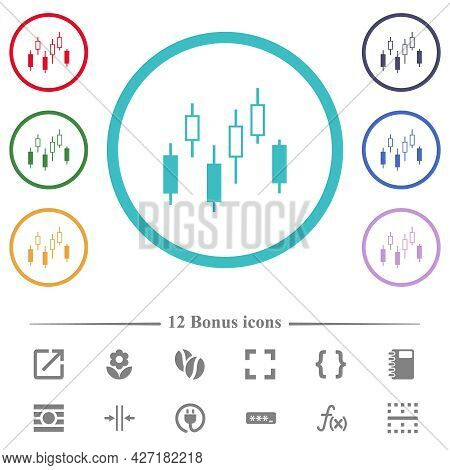 Candlestick Chart Flat Color Icons In Circle Shape Outlines. 12 Bonus Icons Included.