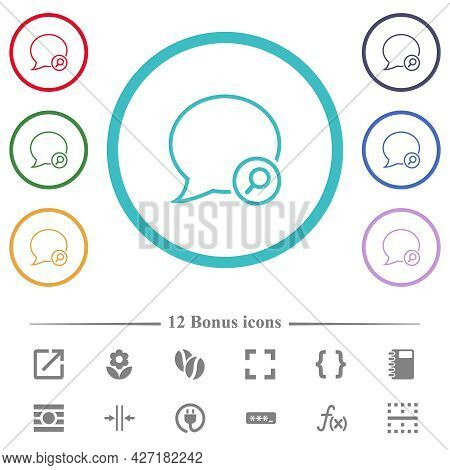 Find Message Outline Flat Color Icons In Circle Shape Outlines. 12 Bonus Icons Included.