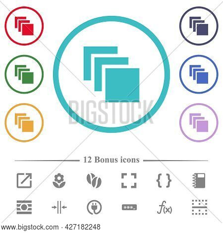 Multiple Canvases Flat Color Icons In Circle Shape Outlines. 12 Bonus Icons Included.