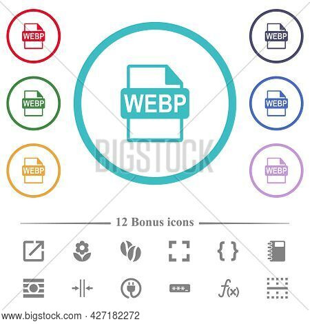 Webp File Format Flat Color Icons In Circle Shape Outlines. 12 Bonus Icons Included.