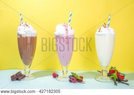 Berry, Vanilla, Chocolate Milkshakes