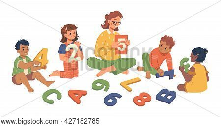 Classes In Kindergarten With Teacher And Children Learning Numeric System. Isolated Tutor With Boys