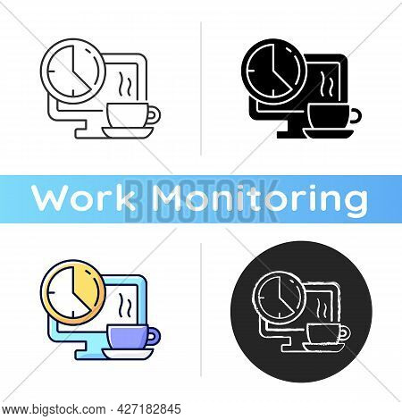 Breaks In Work Graphic Icon. Time For Rest On Workplace In Office. Employee Relax In Front Of Comput