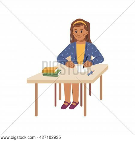 Preteen School Girl Sitting By Desk At Lesson Writing Down Lecture In Notebook. Isolated Female Pers