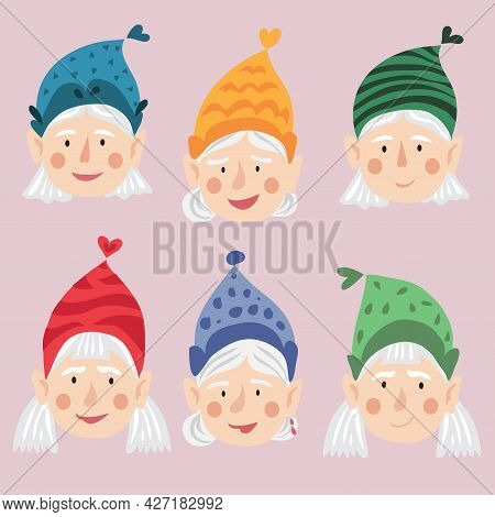 Gnome Characters. Girls,  Mens, Womens  Gnomes. Cute Dwarf Characters Avatar, Happy, Funny And Angry