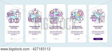 Top Virtual Internship Areas Onboarding Mobile App Page Screen. Business, Marketing Walkthrough 5 St