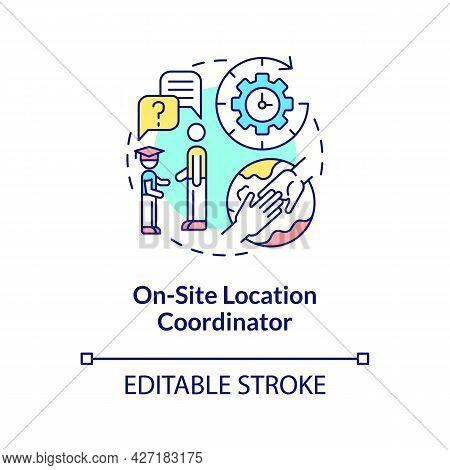 On-site Location Coordinator Concept Icon. Internship Program Abstract Idea Thin Line Illustration.