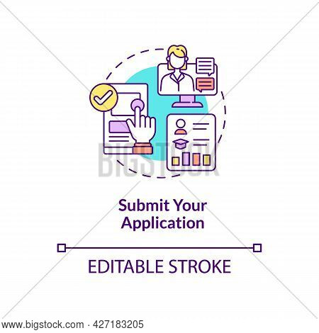 Submit Application Concept Icon. International Internship Procedure Step Abstract Idea Thin Line Ill