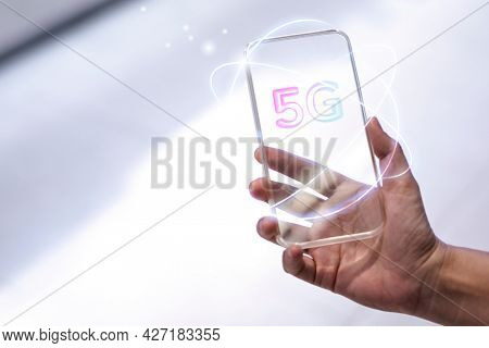 5G global network background technology with futuristic transparent smartphone remixed media