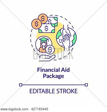 Financial Aid Package Concept Icon. Internship Programs Financing Option Abstract Idea Thin Line Ill