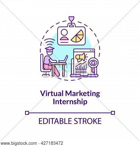 Virtual Marketing Internship Concept Icon. Remote Internship Area Abstract Idea Thin Line Illustrati