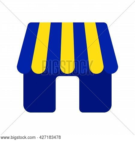 Simple Store, Shop Or Marker Vector Icon With Blue And Yellow Awnings