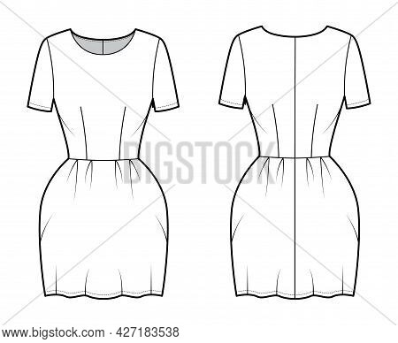 Dress Bell Technical Fashion Illustration With Short Sleeves, Fitted Body, Mini Length Pencil Skirt.