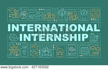 International Internship Word Concepts Banner. Interning Overseas. Infographics With Linear Icons On