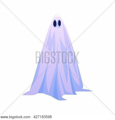 Floating Apparition Or Personage In Halloween Ghost Costume. Isolated Fantasy Creature With Sad Expr