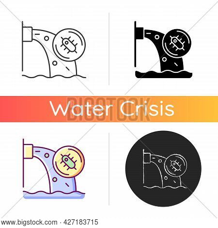 Water Pollution Icon. Water Resources Contamination. Toxic Chemicals, Microorganisms Presence In Gro