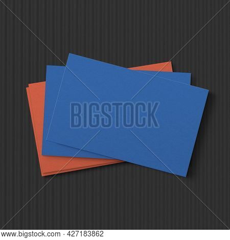 Blank blue business card in front and rear view