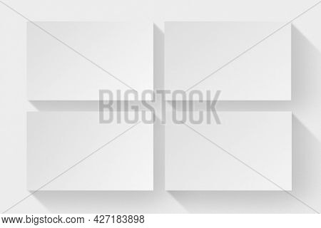 Blank white business cards flatlay