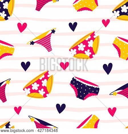 Woman Pants Seamless Pattern In Modern Style. Females Fashionable Underwear. Abstract Colorful Colle
